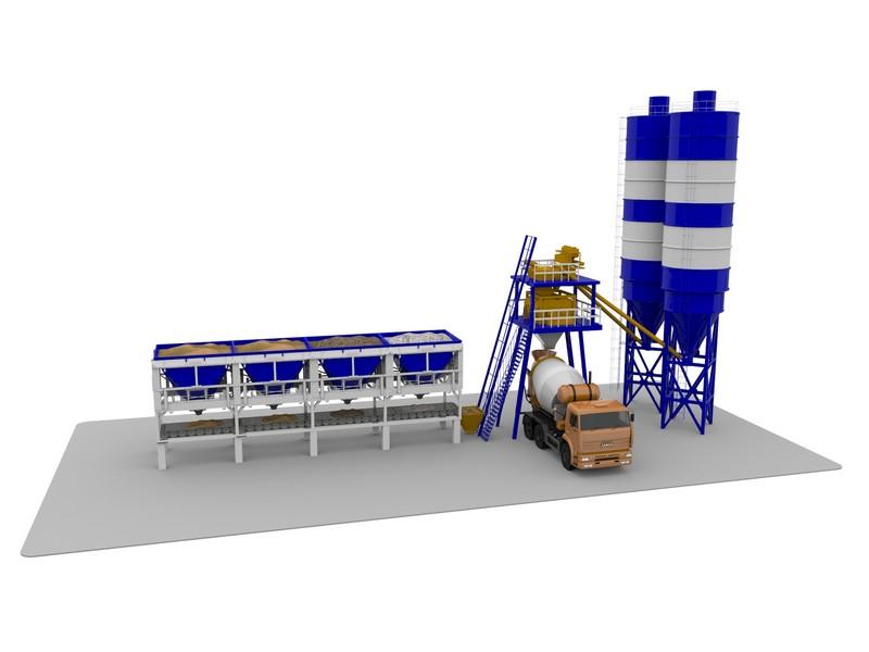 Скиповый бетонный завод 3D дизайн
